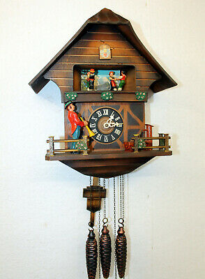 Antique Cuckoo Wall Clock Black Forest wit Carillon music box and moving figures