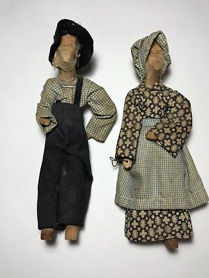 """Antique Wooden Hand Carved 7"""" Dolls Old Man & Woman Couple"""