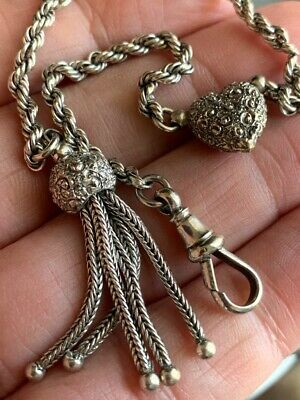 Antique Solid Sterling Silver Watch Chain Albertina Heart Repousse Tassel