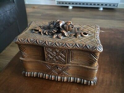 antique hand carved black forest jewellery box