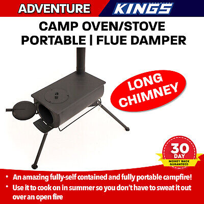Campfire Cooking Oven Stove With Long Chimney Outdoor Cooking Camping