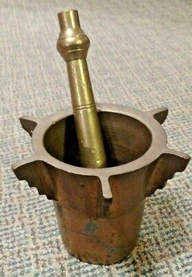 Antique Heavy Brass  Pharmacy Apothecary Mortar and Pestle