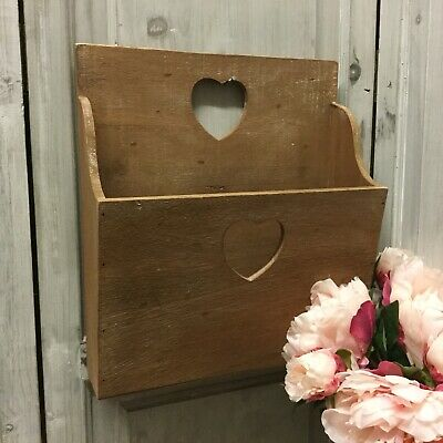 Rustic Wood Wall Letter Rack Magazine Holder Heart Detail Country Post Storage