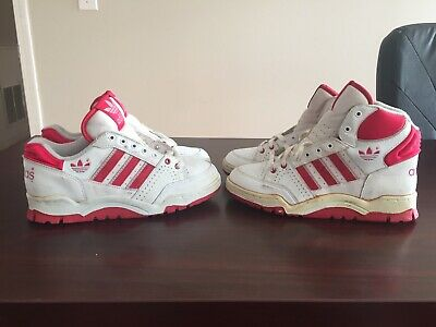 ead39aecc08013 Vintage Adidas Basketball Shoes 80s Old Deadstock Sz 4 Ewing High Top Red  White