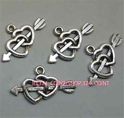 20pc Charms Heart Star Bend Pendant Beads Craft Tibetan Silver Accessories S688T