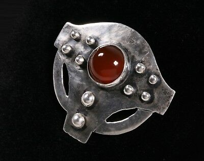 American Arts & Crafts Sterling Silver & Carnelian Brooch - Handwrought  C.1910