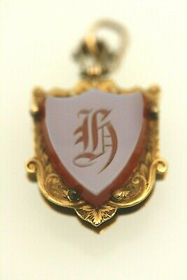 Antique Rare Stone Cameo Hair Mourning Locket 14k Gold Brooch Pendent Jewelry NR