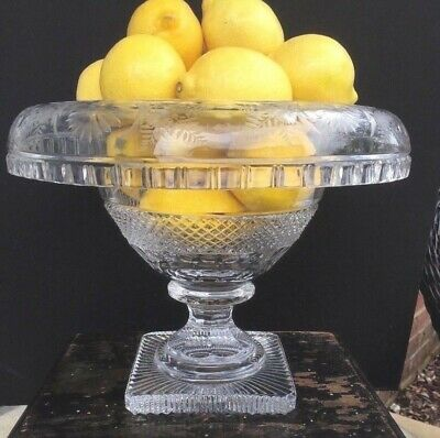 Antique Anglo Irish Cut Crystal Pedestal Bowl Centerpiece