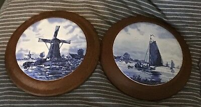 Two Vintage Delft Wall Plaques Delft Tile Inset On Wood Frames Delft