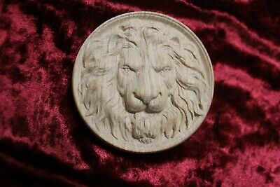 Decorative lion head, wooden Carved lion rosette. Oak wooden element. 4""