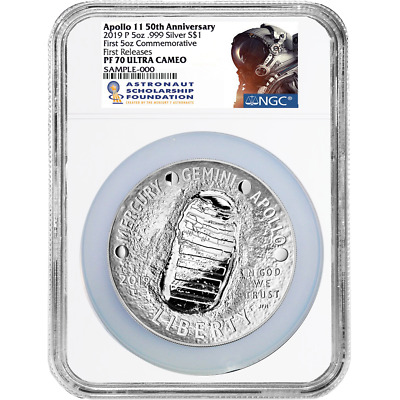 2019-P Proof $1 Apollo 11 50th Ann 5oz. Silver Dollar NGC PF70UC ASF FR Label