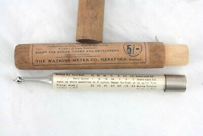 """antique """"The Watkins Time Thermometer...Right for Kodak Tanks....Meter Co"""" cased"""