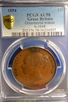1854 Great Britain Penny, Ornamental Trident, PCGS AU58, Nice Coin
