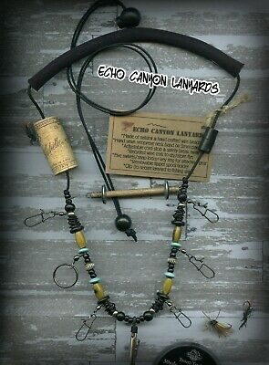 Fly Fishing Lanyard-Handcrafted w/Tippet Holder, Bone, Horn & Natural Beads
