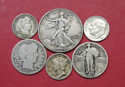 Collection Of Six (6) Vintage Silver Us Coins