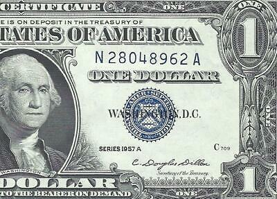 1957A $1 BLUE Seal SILVER Certificate! CRISP CHOICE XF! Old US Paper Money!
