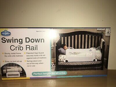 Regalo Extra Long Swing Down Convertible Crib Toddler Bed Rail Guard with Anchor