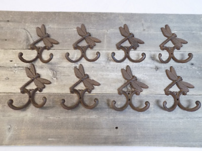 8 Cast Iron DRAGONFLY Towel Hooks Hat Rack Coat Hook Rustic Dragon Fly Double