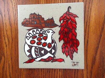"""RARE Cleo Teissedre Southwest Handcrafted Ceramic Tile Trivet/Wall Décor, 6"""""""