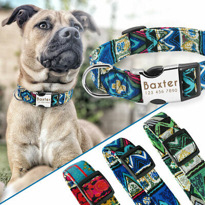 Personalised Nylon Dog Collar Heavy Duty Buckle Free Disc Engraved Blue S M L