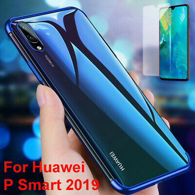 For Huawei P Smart 2019 Case Luxury Plating Clear Soft TPU Cover+ Tempered Glass