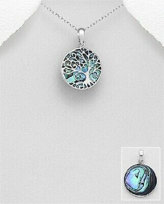 tree of life pendant sterling silver Handmade with Abalone Shell Hallmarked 925