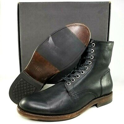 6419a6575edbc FRYE MENS NEW Black Leather Officer Lace Up Boots Size 9 D NWOB $378 ...