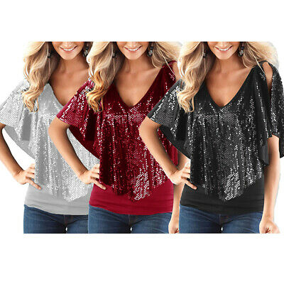 44176d82fcf41d Women Sequins Sparkle Glitter Short Sleeve Blouse T-Shirt Blouse Tank Tops  2019