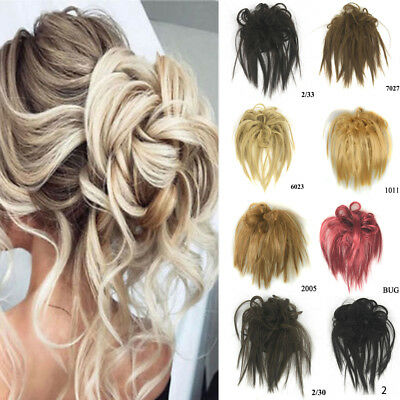 Real Natural as human Clip on/in Messy Hair Bun Extension Chignon Hair Piece