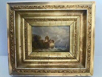 rare! late 1800s American painting w/ original gold framed & newspaper