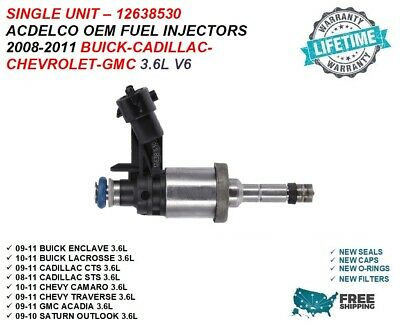 NEW Single Genuine GM ACDelco Fuel Injector For 2010-2011 Buick Lacrosse 3.6L V6
