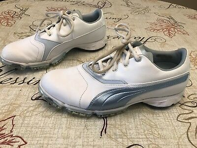 Womens Puma BIOPRO Golf Shoes White Blue Metallic Size 9 Outlast Leather 68647ffd4