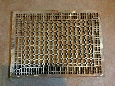 "Antique Large Cast Iron 31""x 23"" Victorian Cold Air Return Floor Grate Register"
