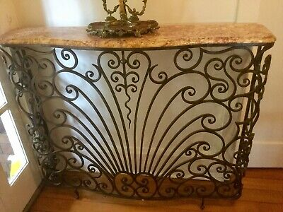 French Art Deco Wrought Iron Console Table With A Marble Top