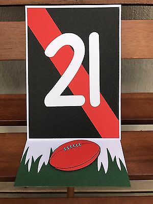 Handmade Aussie rules football 21st birthday card - red and black - bombers