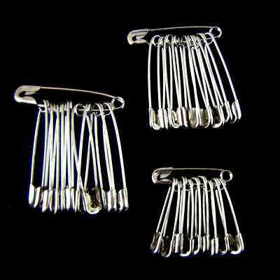 30-120Pcs Safety Pins Silver Assorted Size Small Medium Metal Craft Sewing Tools