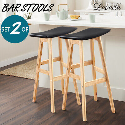 Levede 2X Kitchen Bar Stools Dining Chairs Wooden Leather Vintage Black White