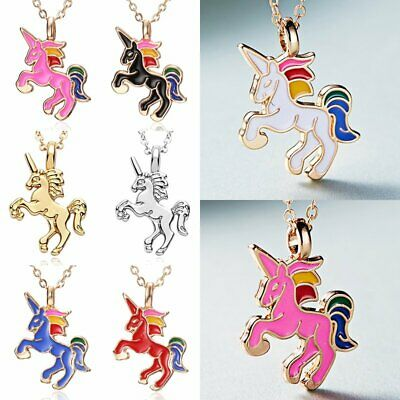 Fashion HORSE Animal Pendant Necklace Womens Girls Kid Enamel Chain Jewelry Gift