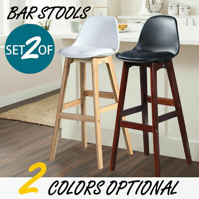 Levede 2X Beech Wooden Bar Stool PU Padded Dining Chairs Barstools Home Kitchen