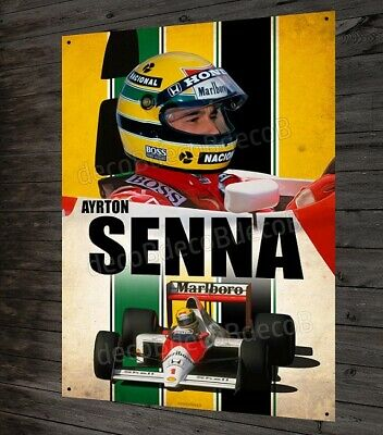 Plaque métal Ayrton Senna pilote et champion F1 McLaren Williams Lotus 40x30cm