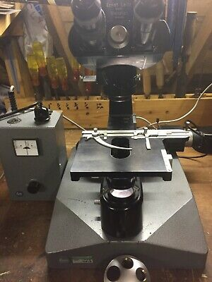 Leitz Ortholux black enamel research microscope with special lighting base