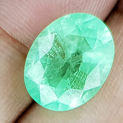 11.17 Cts 14Mm Si2 Oval Light Green Natural Emerald Loose Gemstone