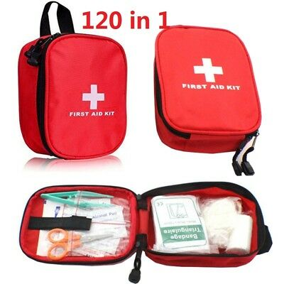 120 Pcs First Aid Kit Bag Medical Emergency Kit Travel Home Car Taxi Workplace