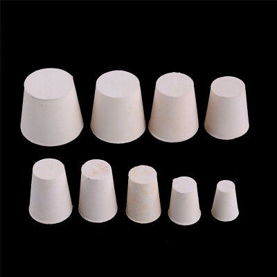10x Rubber Stopper Bungs Laboratory Solid Hole Stop Push-In Sealing Plug new