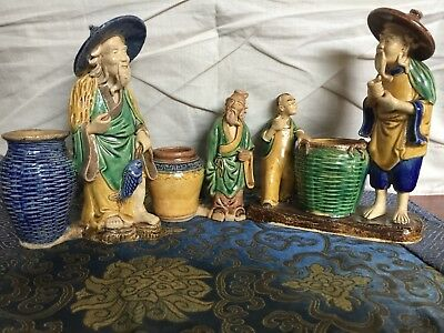 Collection of 3 Antique Chinese Mud Men with Basket Figurines