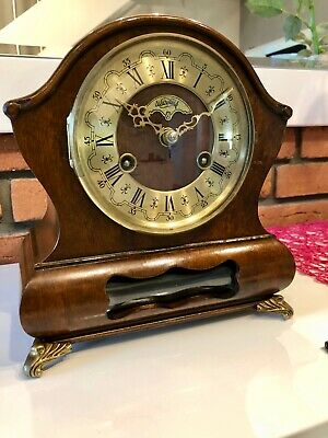Beautiful Antique Original Dutch Mantel Shelf  Clock With Chiming Up Two Bells