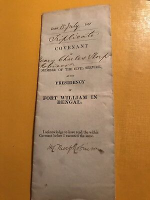1871 Covenant Henry Charles Thorp Robinson Fort Willian Bengal Civil Service