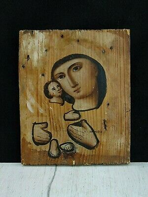 Antique 19th Russian Hand Painted Wooden Orthodox Icon Mother of God