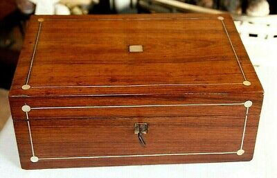 Victorian Rosewood Jewellery Box + Mother Of Pearl Inlay, Slight Restoration