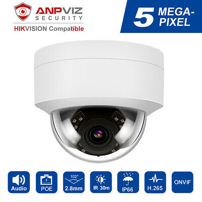 Hikvision Compatiable 5MP H.265 POE IP Camera 98ft IR With Bracket/ Audio 2.8mm